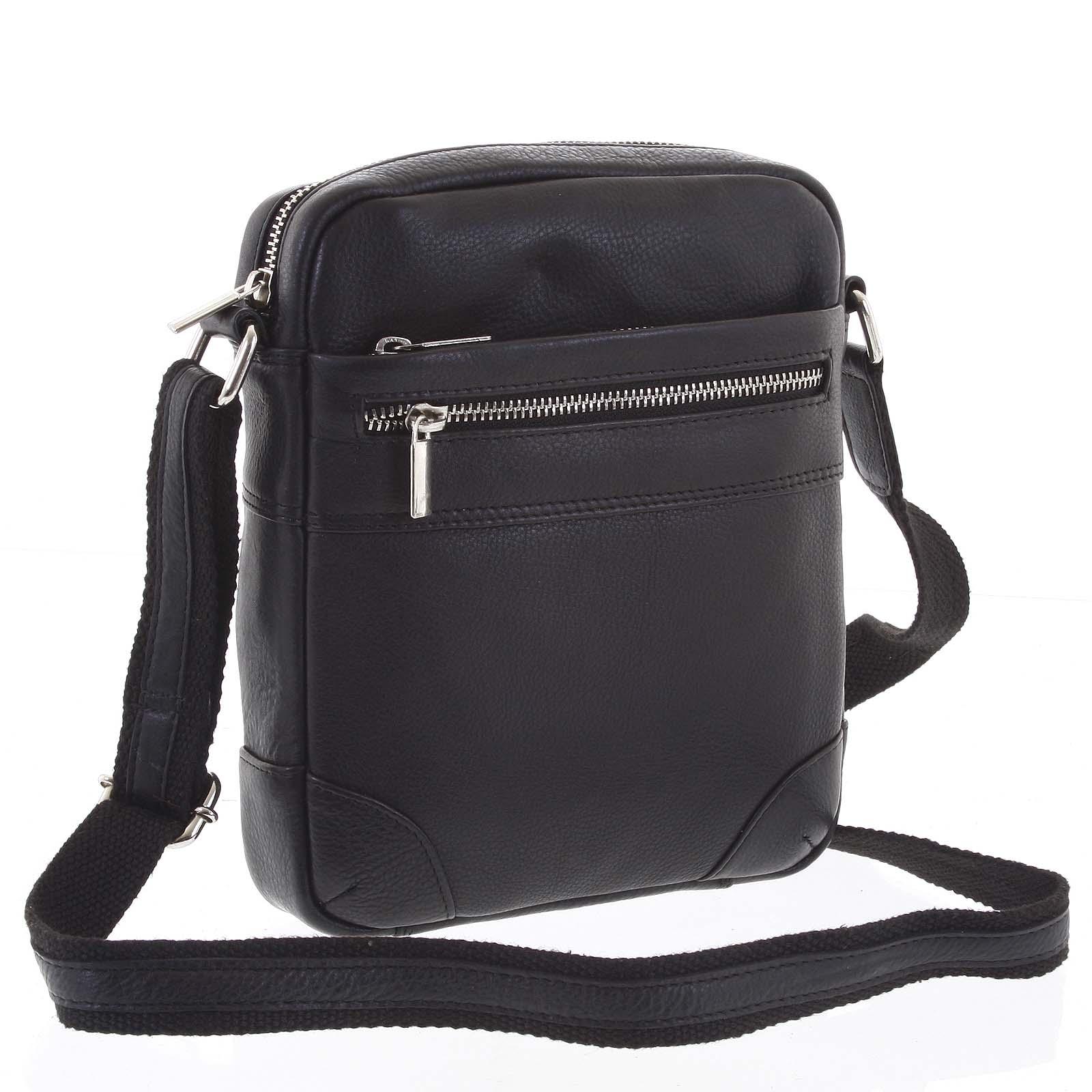 Moderná pánska kožená taška crossbody na doklady čierna - WILD Anton