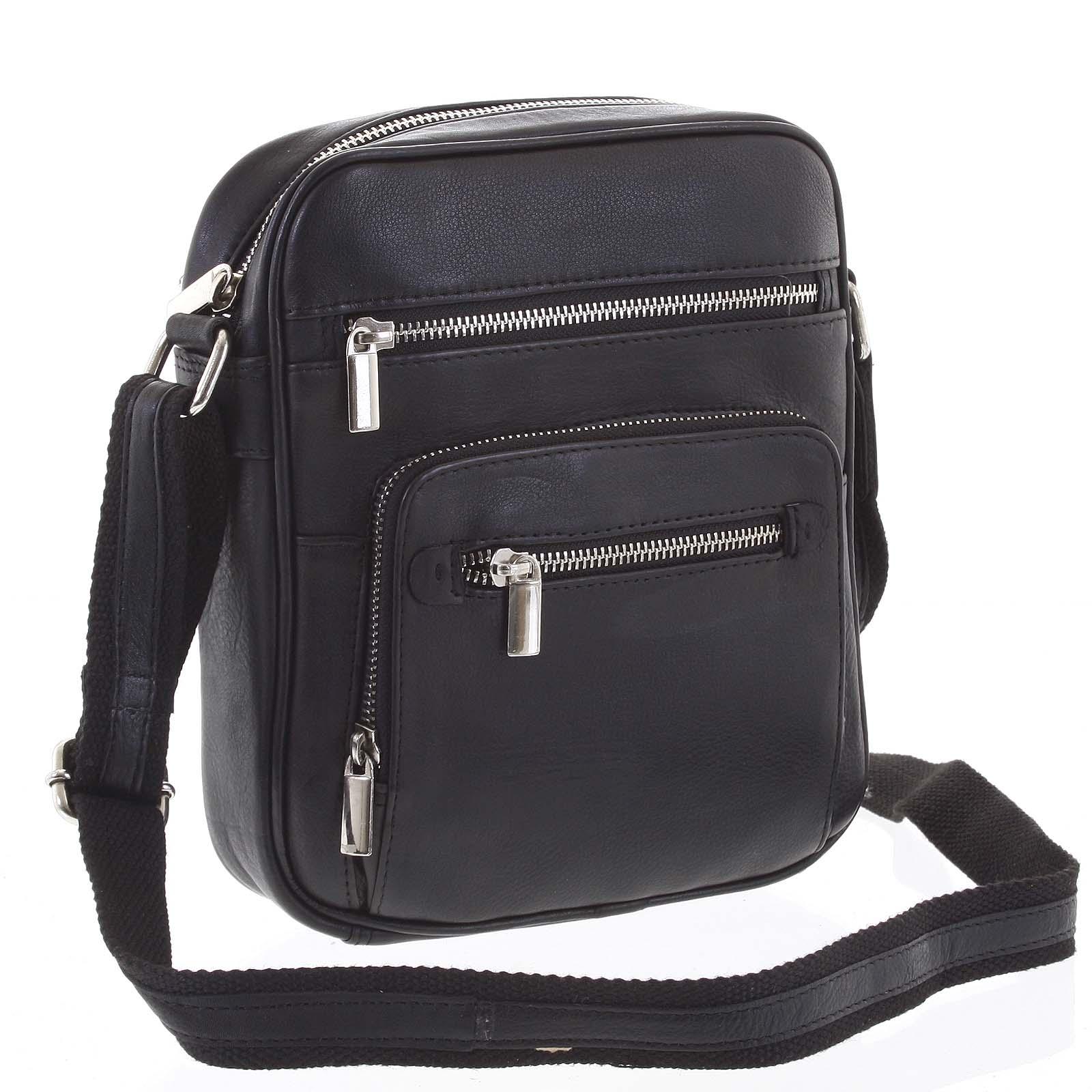 Módna pánska crossbody kožená taška na doklady čierna - WILD Andric