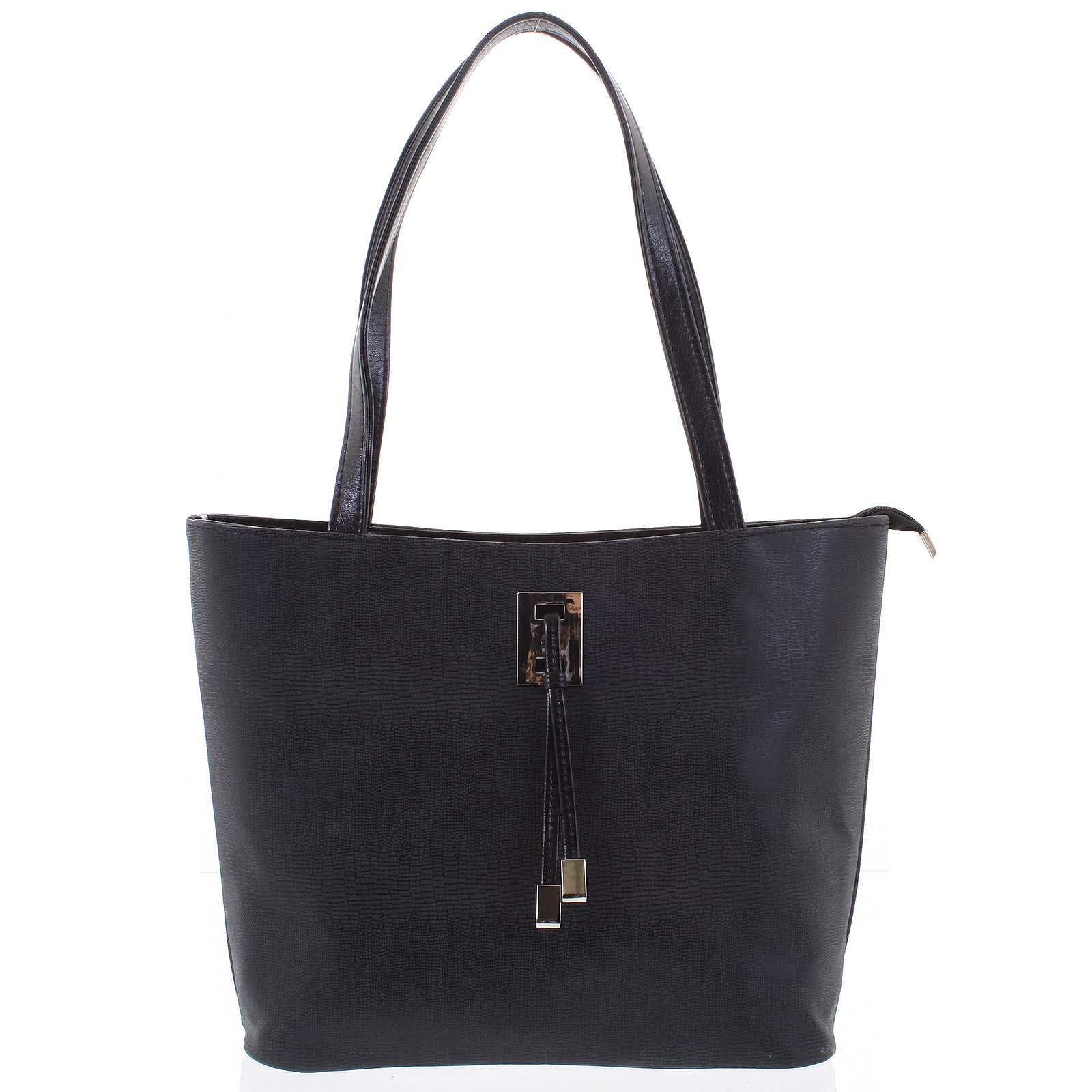 Veľká čierna vzorovaná dámska kabelka cez plece - Ellis Huyen