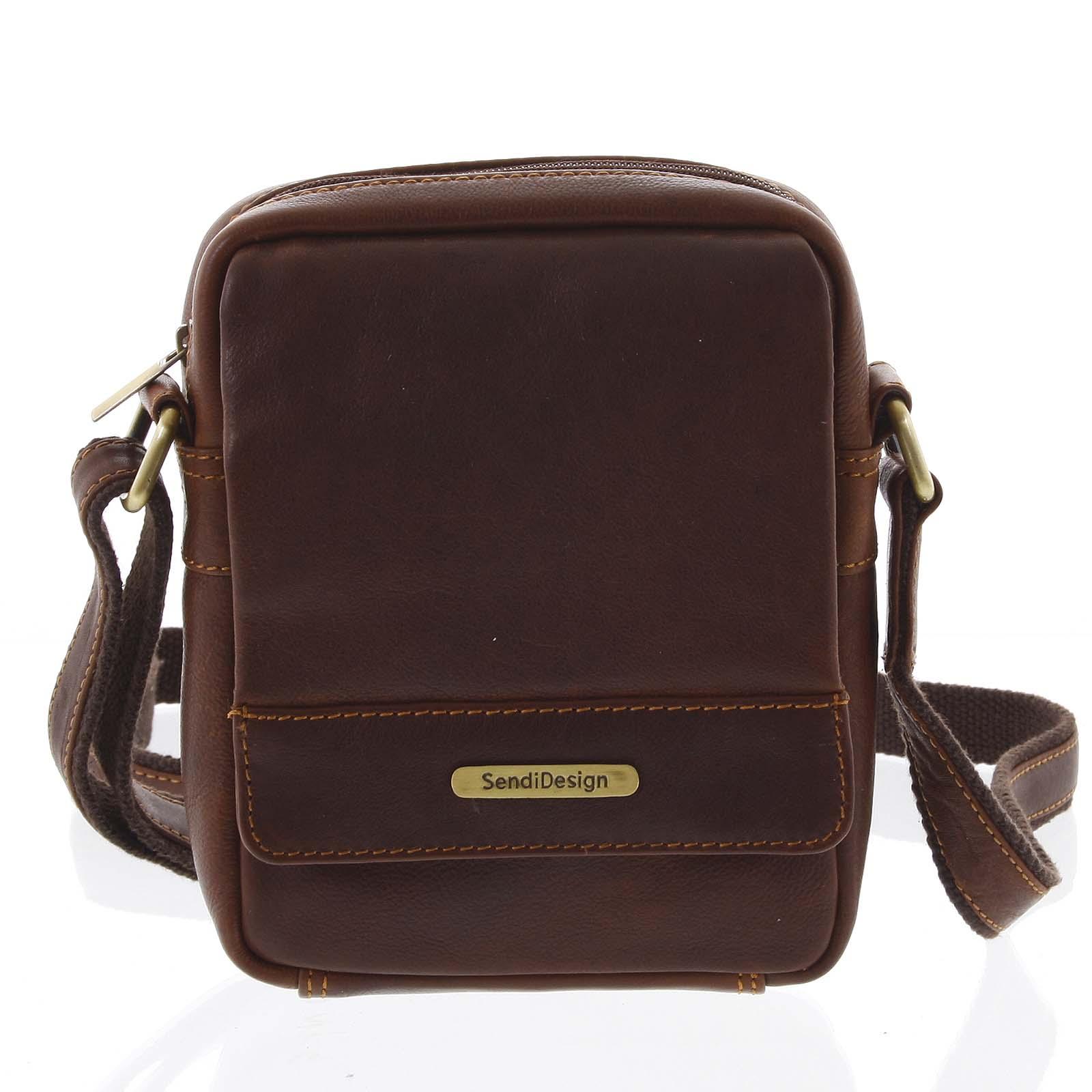 Hnedá luxusná pánska kožená crossbody taška - SendiDesign Khalil
