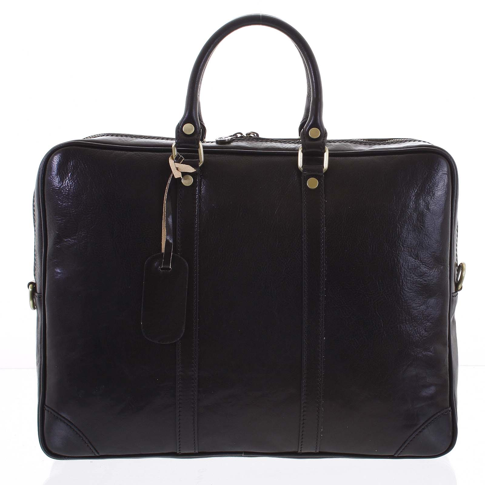 Kožená business taška čierna - ItalY Paolo
