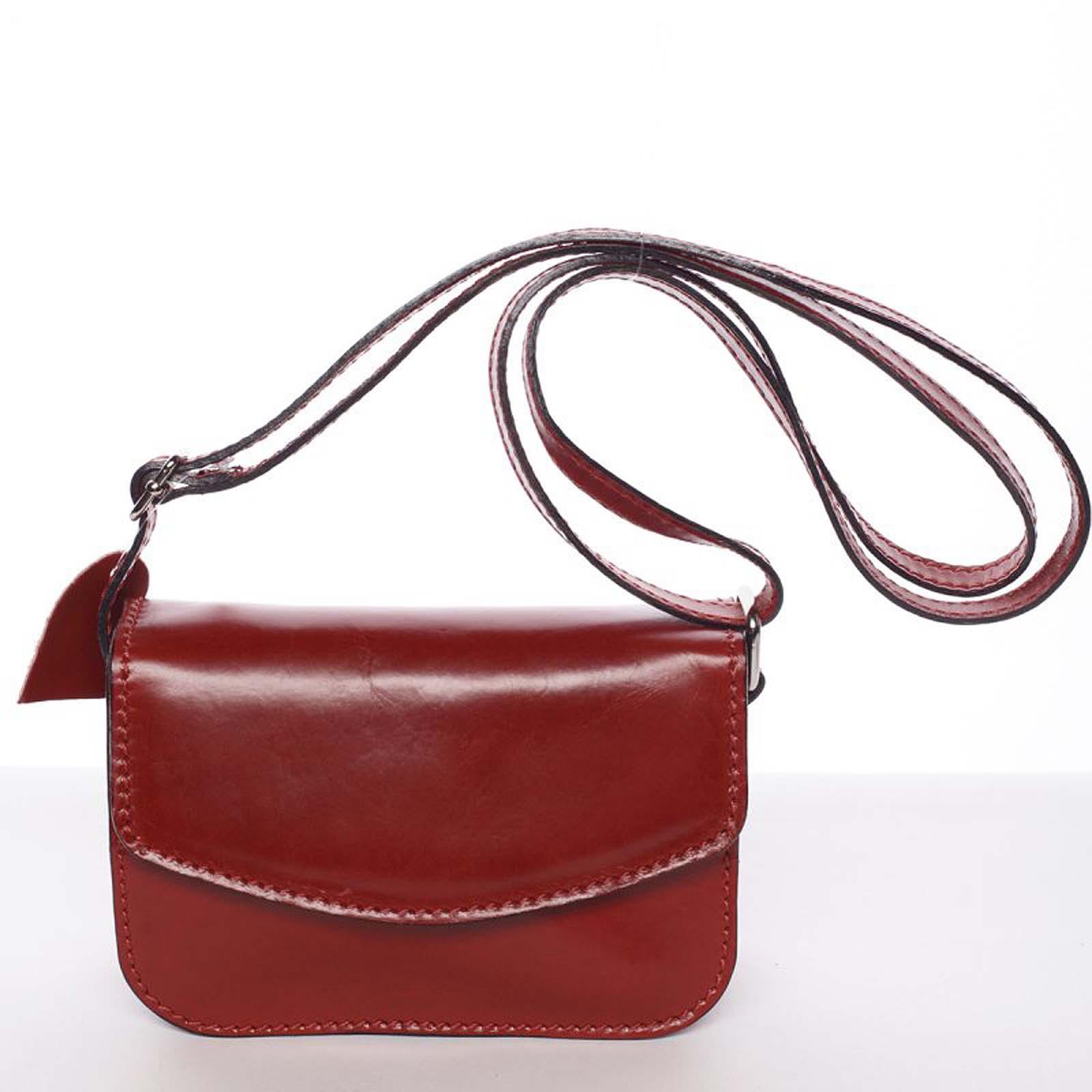 Malá kožená dámska crossbody kabelka červená - ItalY Paulina