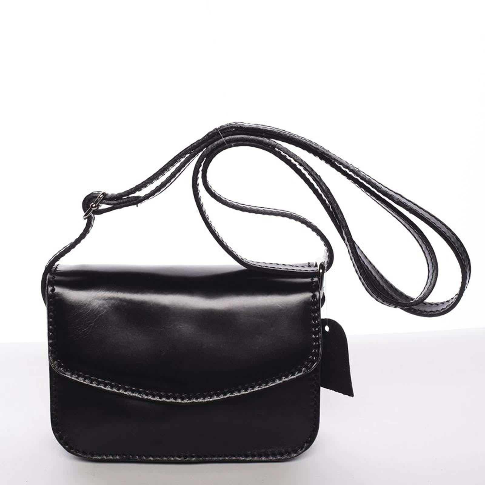 Malá kožená dámska crossbody kabelka čierna - ItalY Paulina