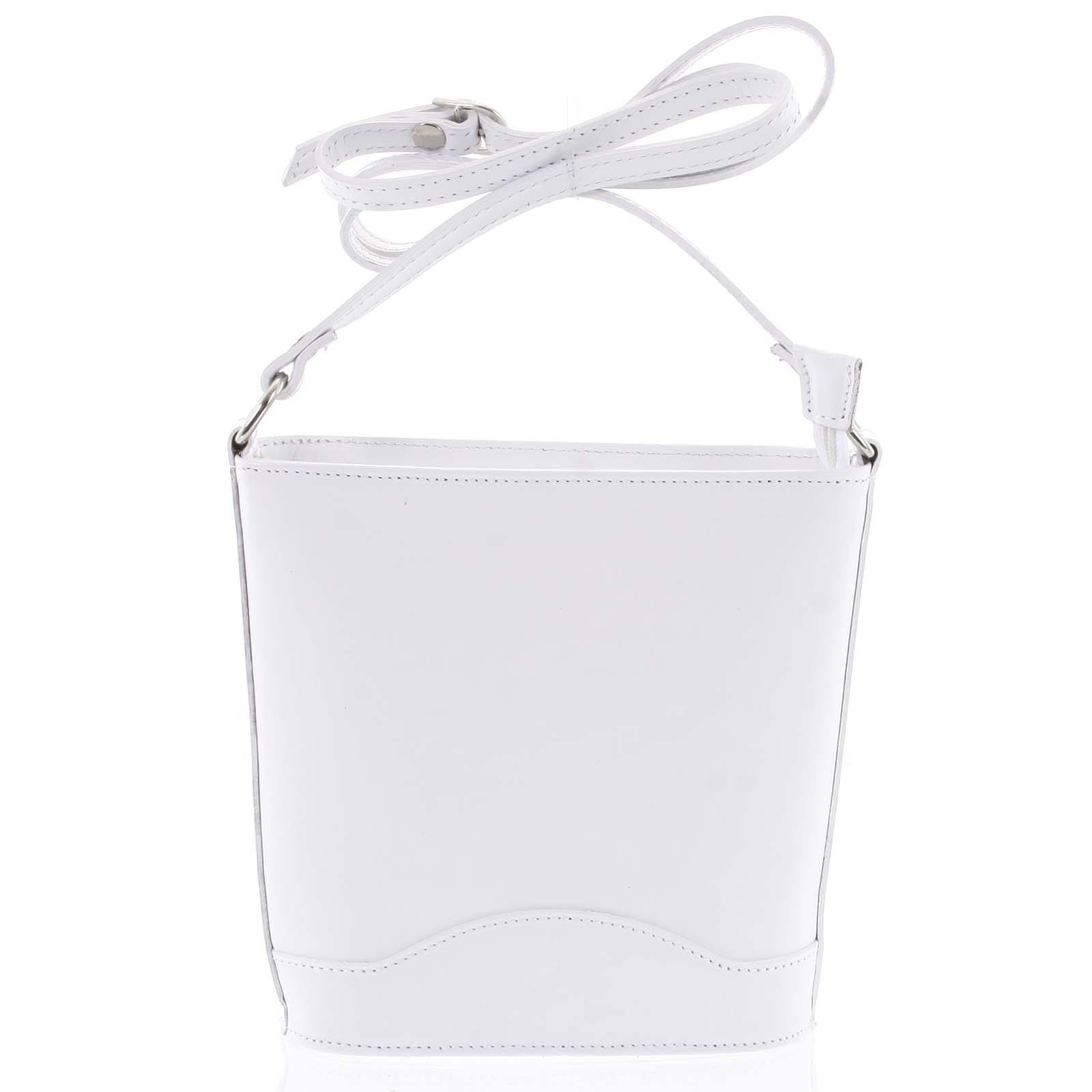 Biela kožená crossbody kabelka - ItalY Bryana Light