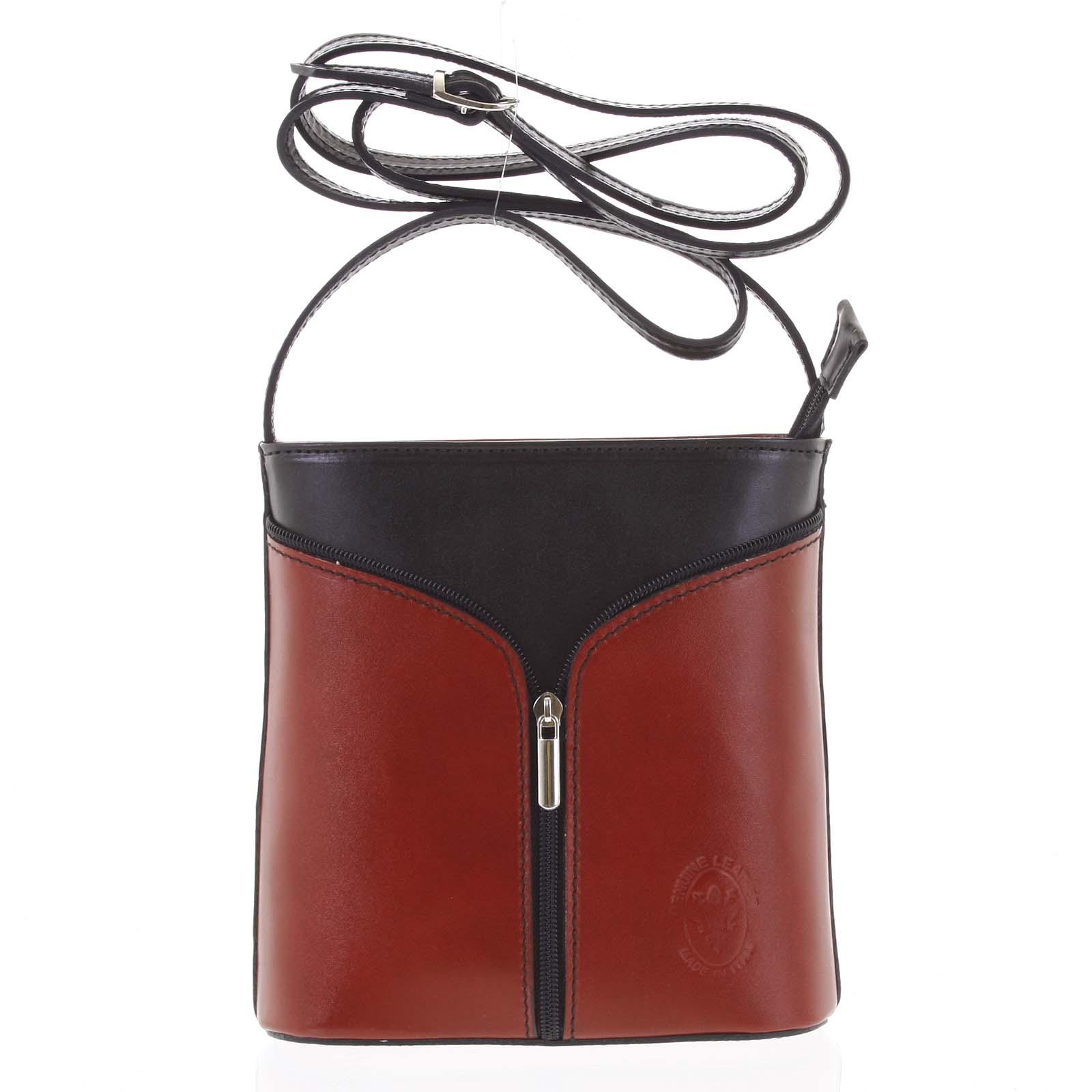 Dámska kožená crossbody kabelka červenočierna - ItalY Hallie