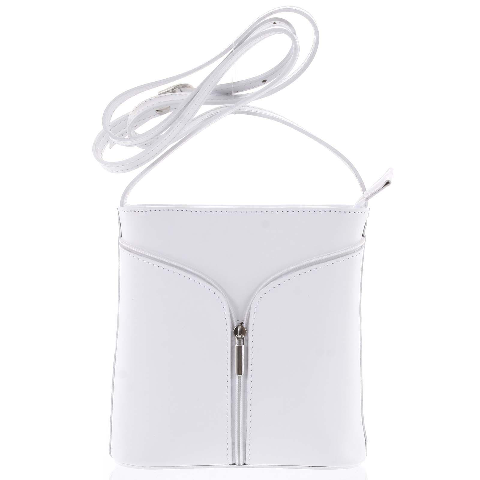 Dámska kožená crossbody kabelka biela - ItalY Hallie Light