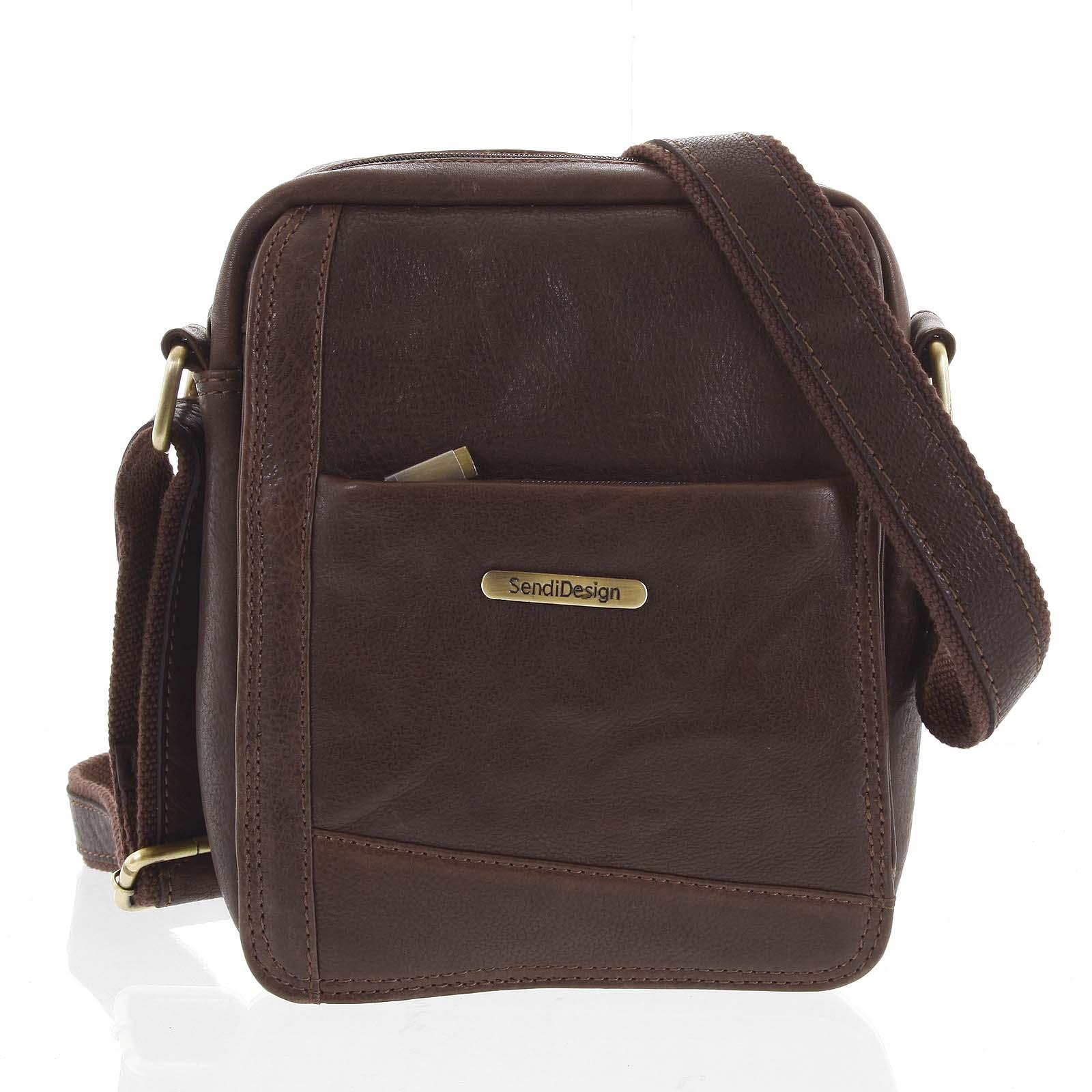 Pánska kožená taška na doklady hnedá - SendiDesign Eser