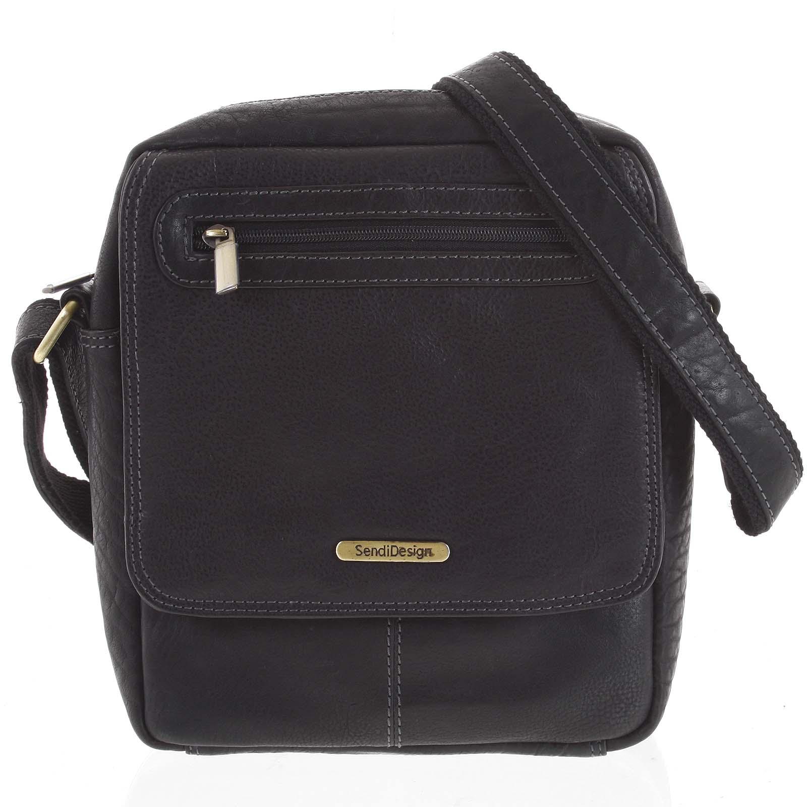 Kožená pánska taška cez plece čierna - SendiDesign Edmar