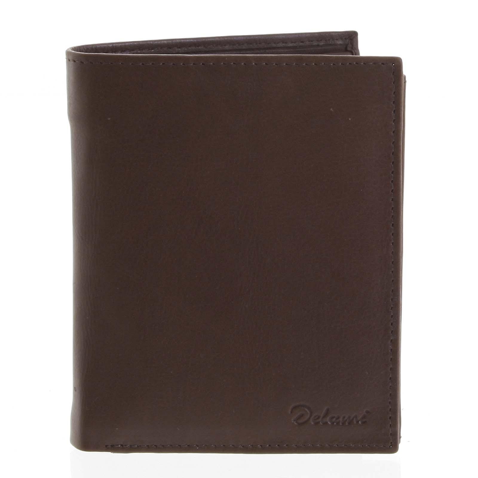 Pánska kožená hnedá peňaženka - Delami 8229