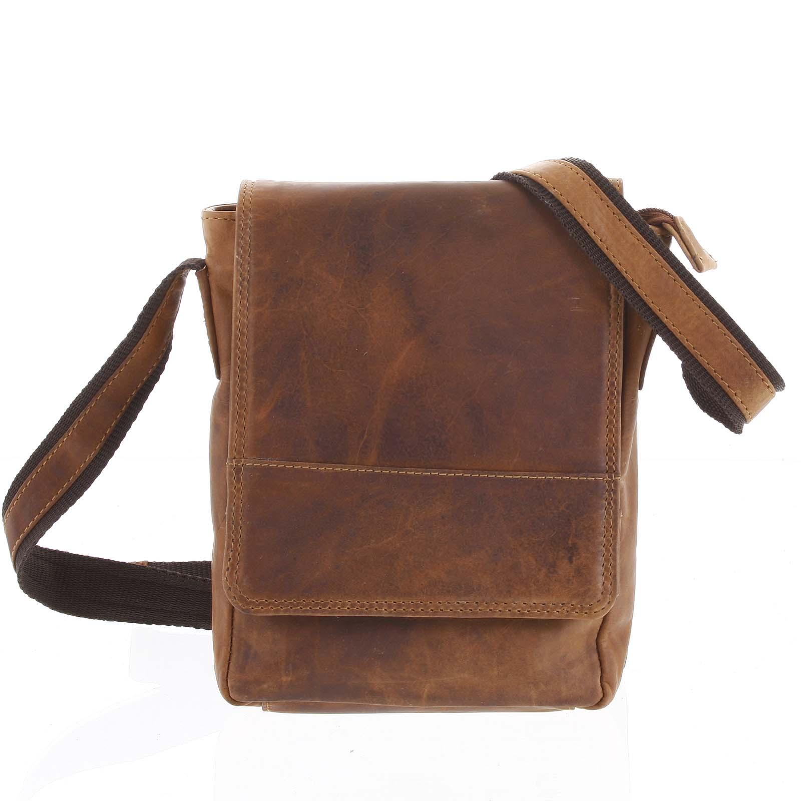 Kožená pánska crossbody taška na doklady svetlo hnedá 0213