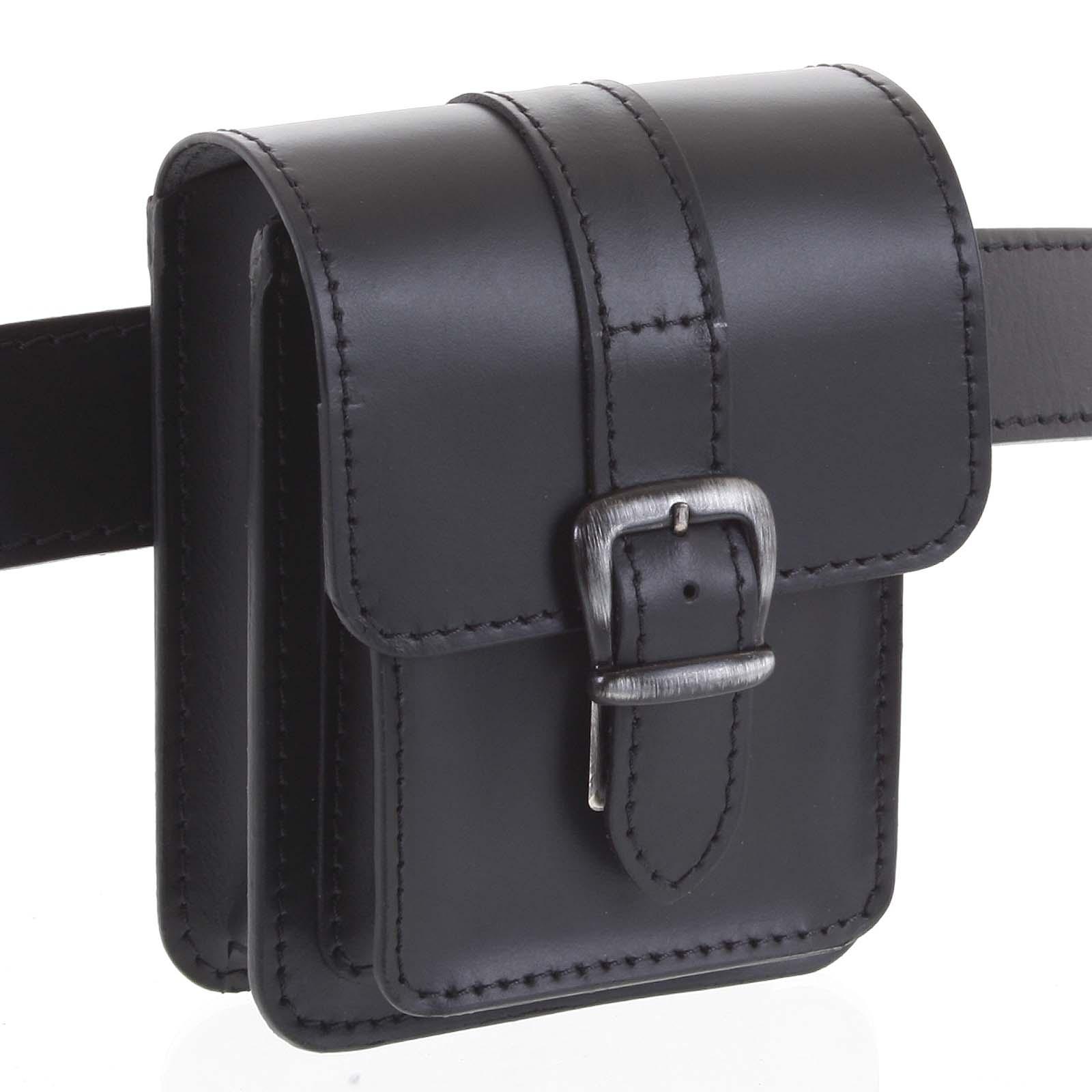 Pánska kožená kapsa na opasok čierna - Kabea Kisi