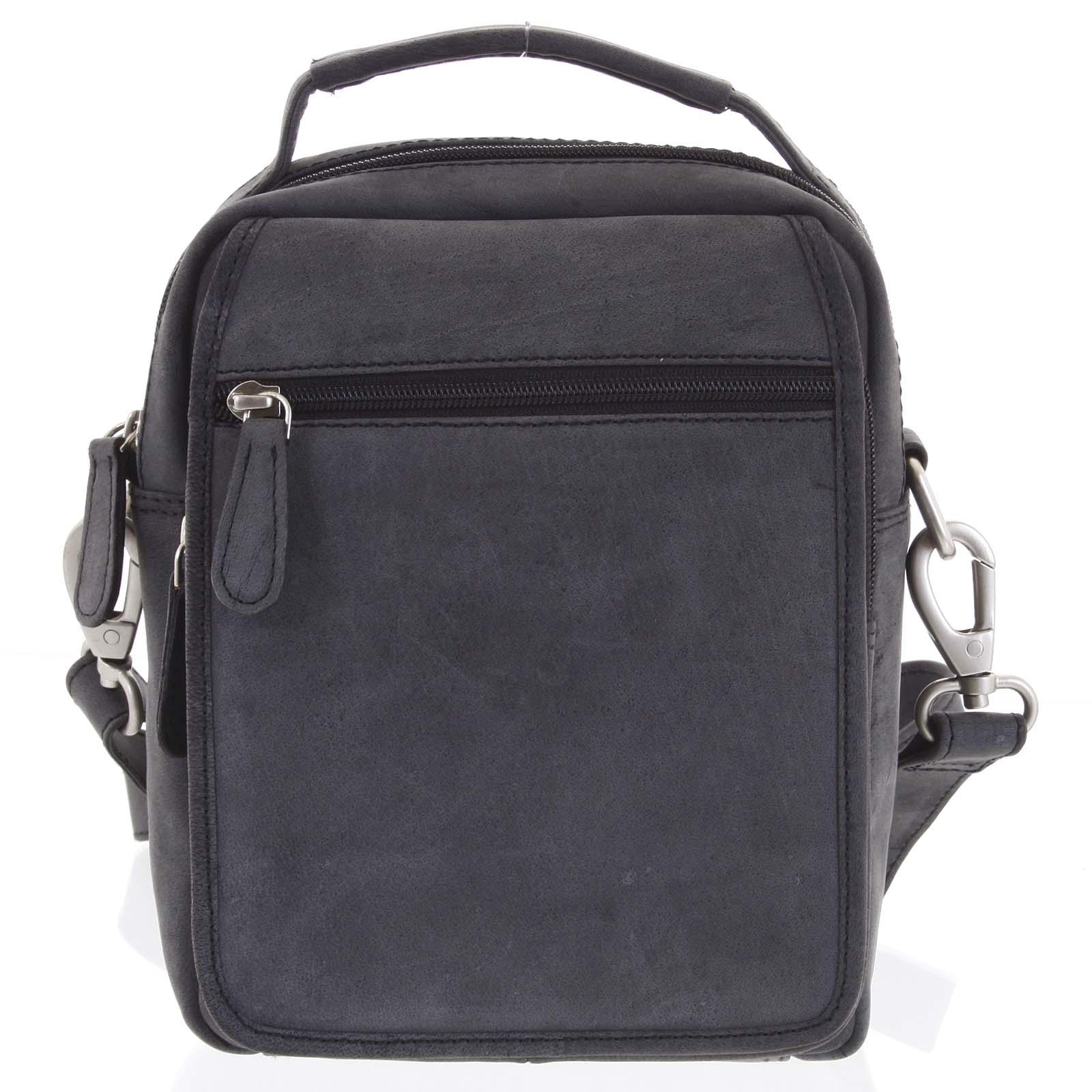 Čierna kožená taška cez plece SendiDesign Rico