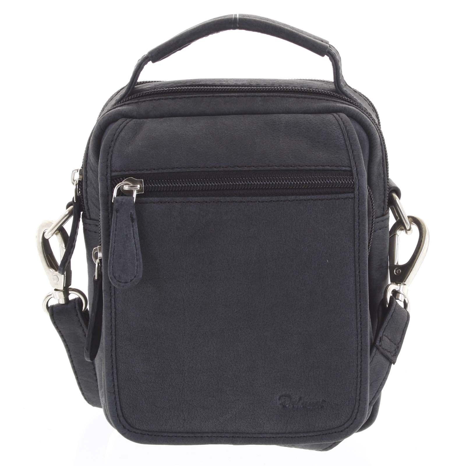 Pánska kožená taška cez plece čierna - Delami Gabo S