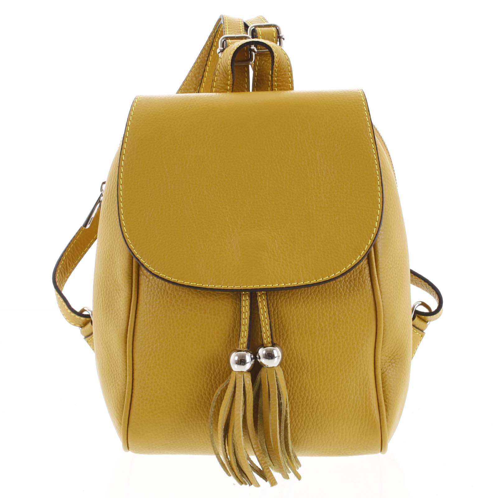 Dámsky kožený batôžtek žltý - ItalY Joseph