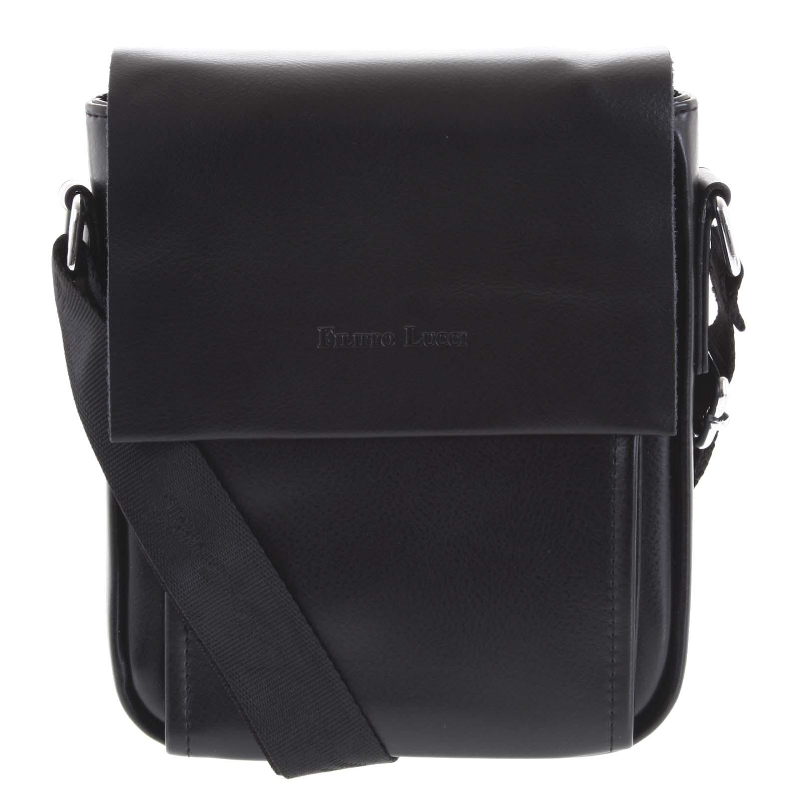 Pánska kožená crossbody taška čierna - Filippo Lucci Magnett