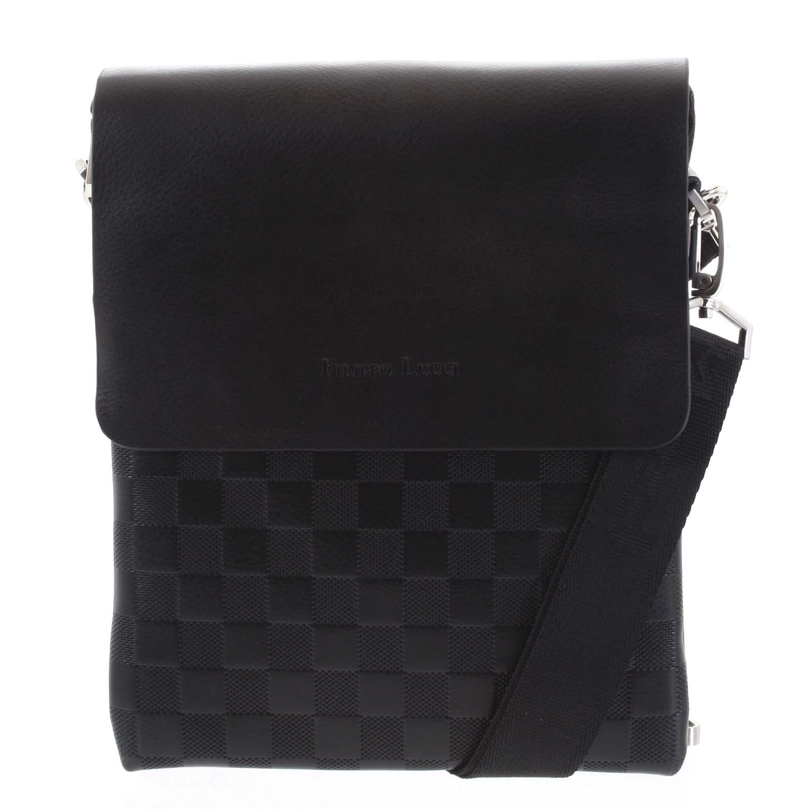 Pánska kožená taška čierna - Filippo Lucci Paolo