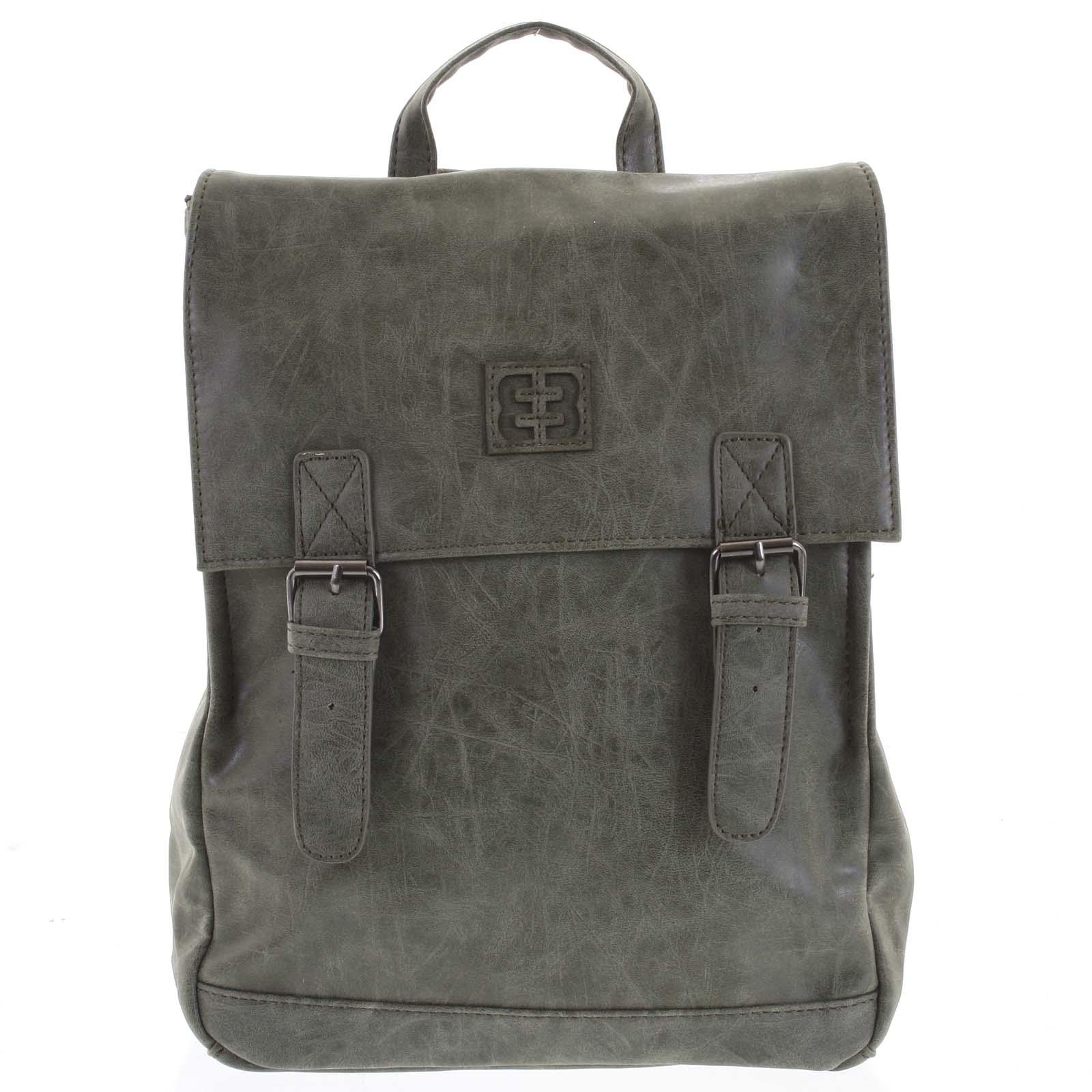 Módny štýlový stredný batoh olivovo zelený - Enrico Benetti Traverz