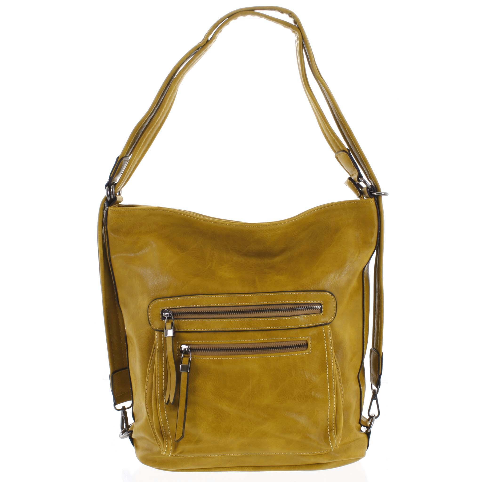 Dámska kabelka batoh tmavo žltá - Romina Jaylyn