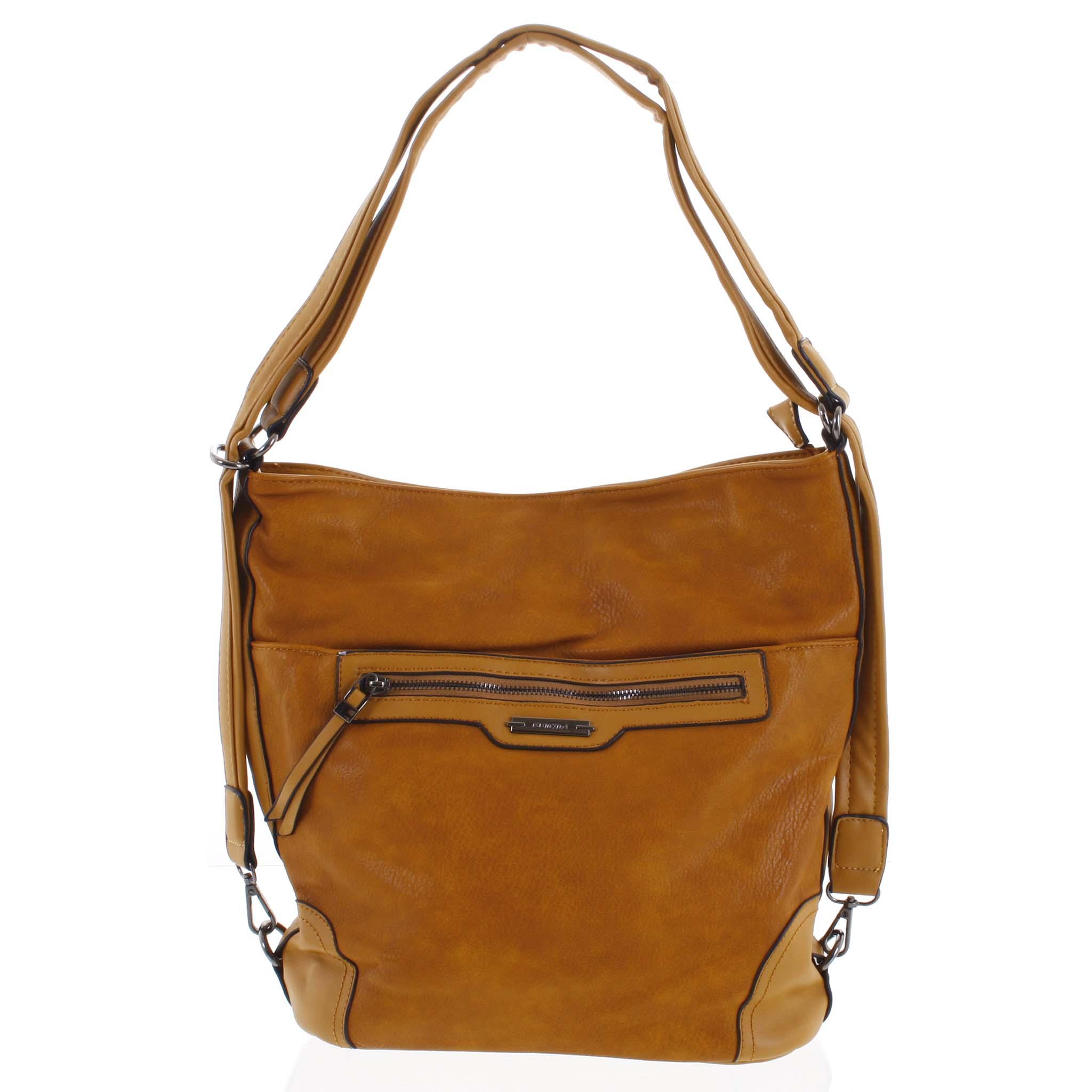 Dámska kabelka batoh tmavo žltá - Romina Zilla