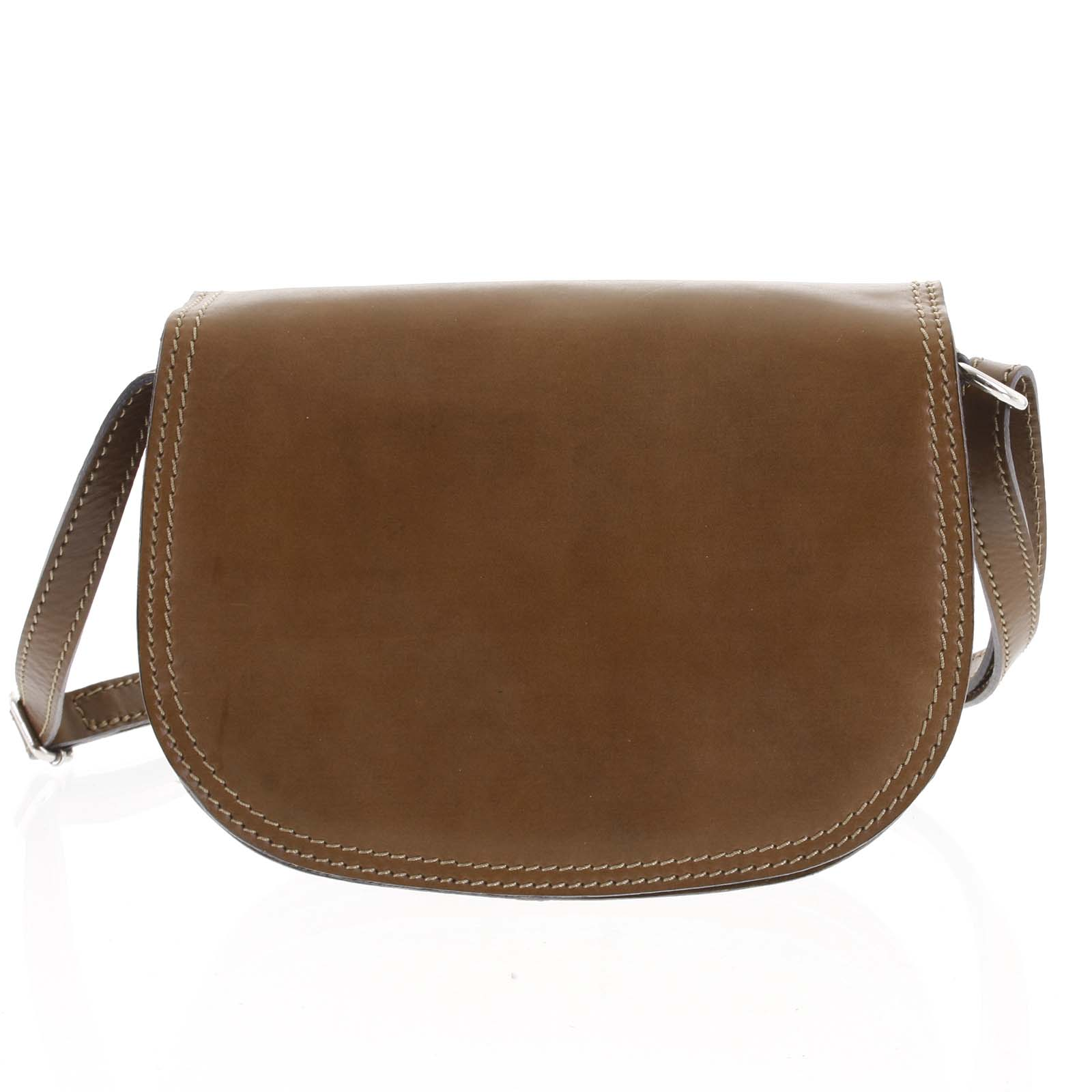 Menšia hnedá lakovaná crossbody kožená kabelka - ItalY Zoya