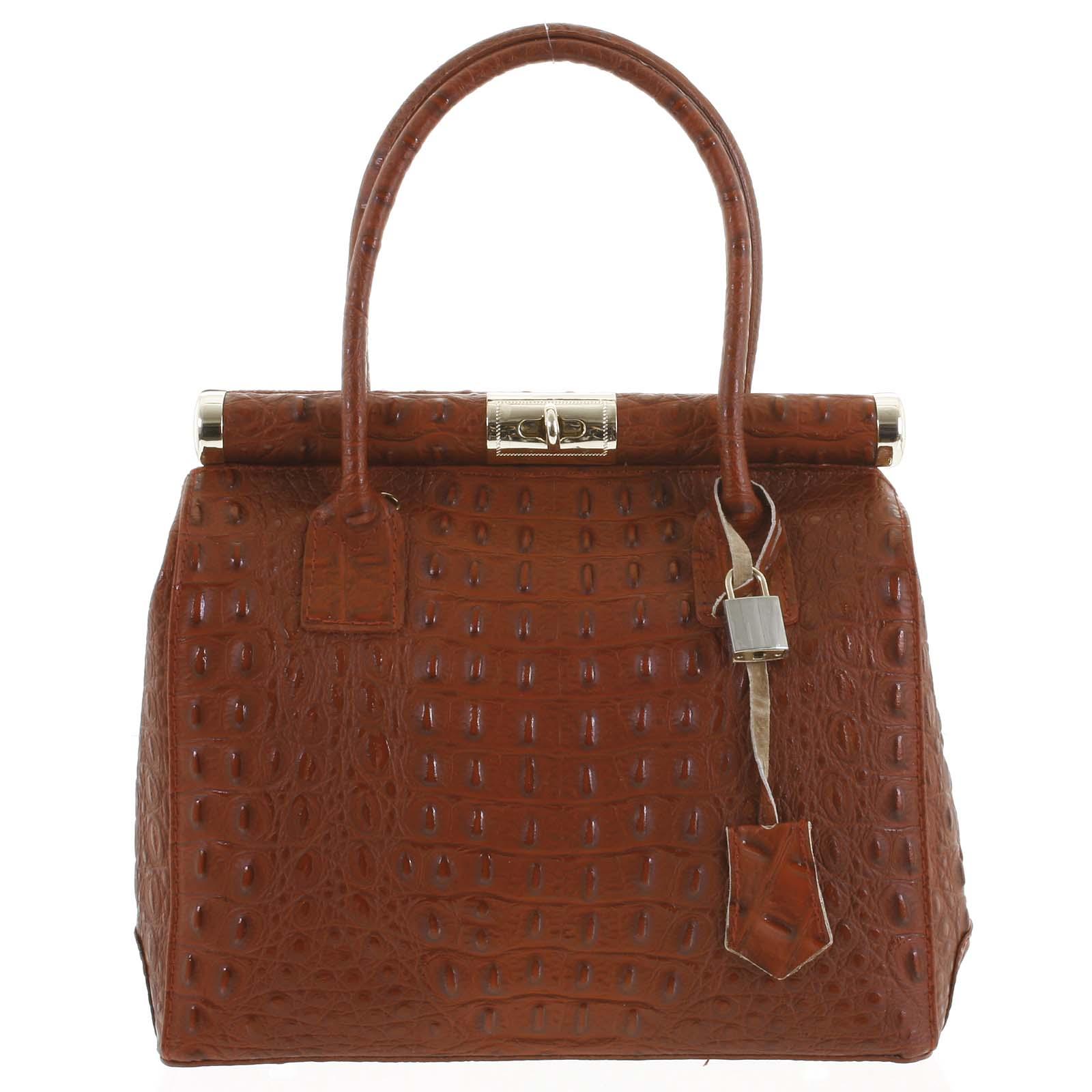 Luxusná dámska kožená kabelka do ruky tmavo červená - ItalY Hyla Kroko