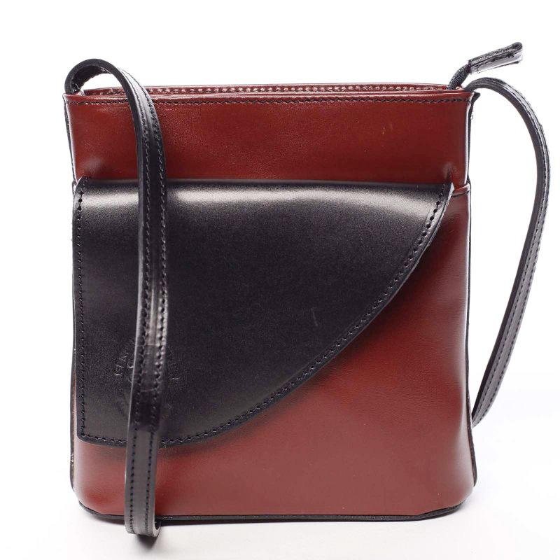 Dámska kožená crossbody kabelka červeno čierna - ItalY Cora