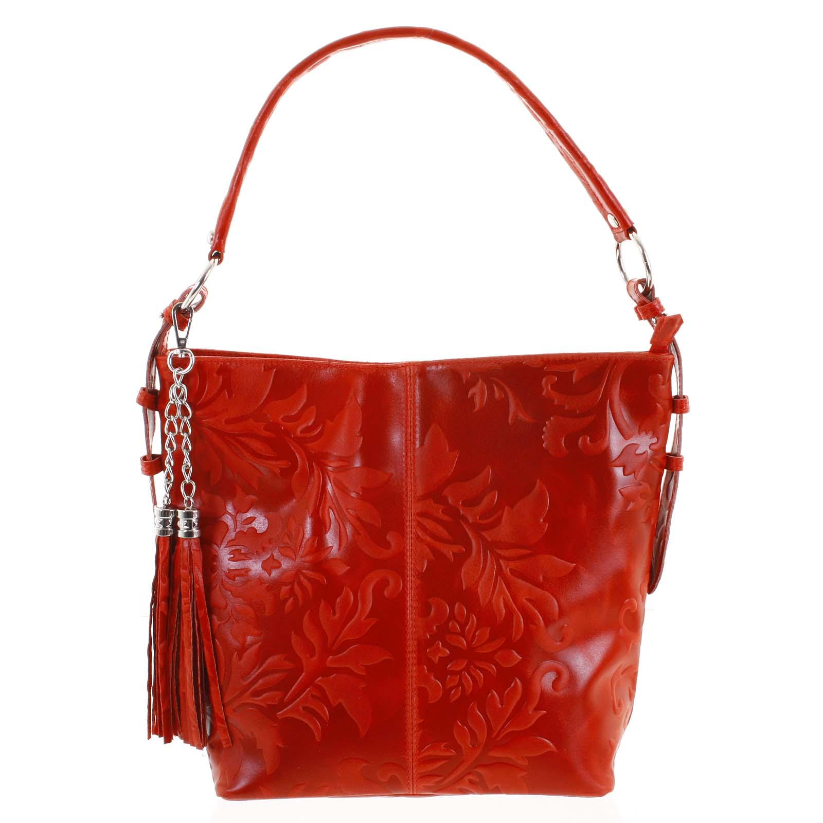 Dámska kožená kabelka cez plece červená - ItalY Heather