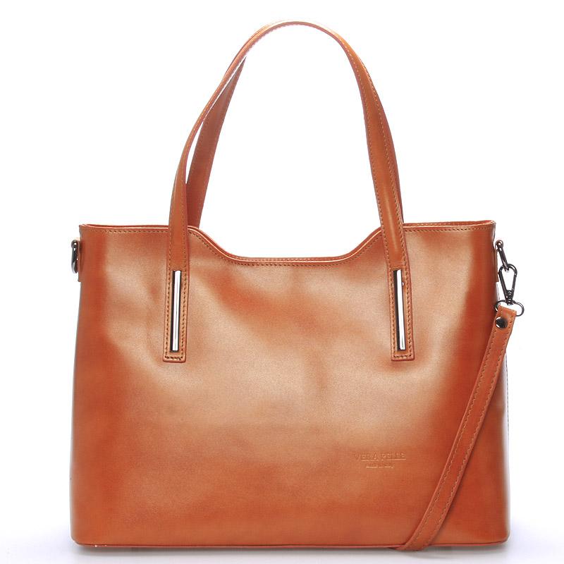 Väčšia kožená kabelka svetlo hnedá - ItalY Sandy