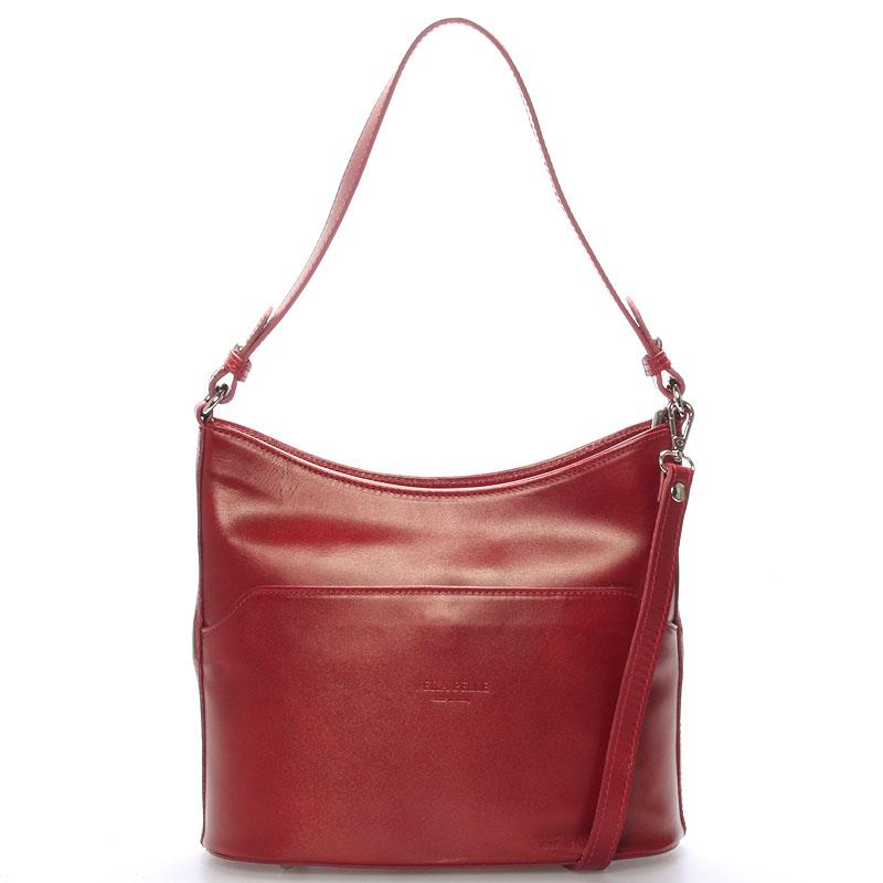 Červená kožená kabelka cez plece ItalY Lydia