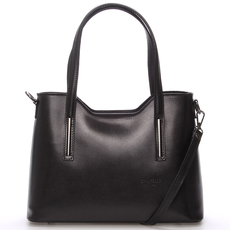Stredná kožená kabelka čierna - ItalY Chevelle