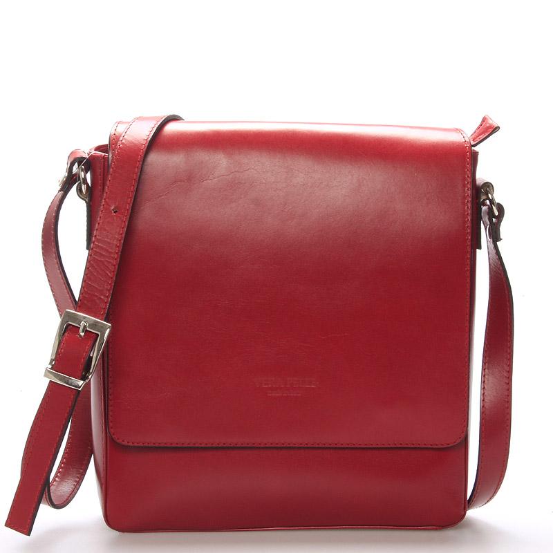 Pánska luxusná kožená taška cez rameno červená - ItalY Crosby