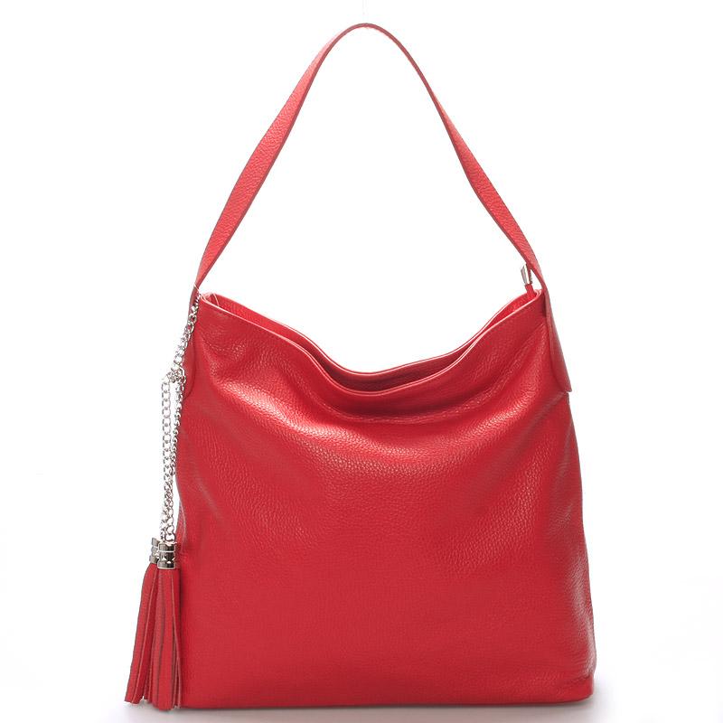 Módna kožená kabelka cez plece červená - ItalY Georgine