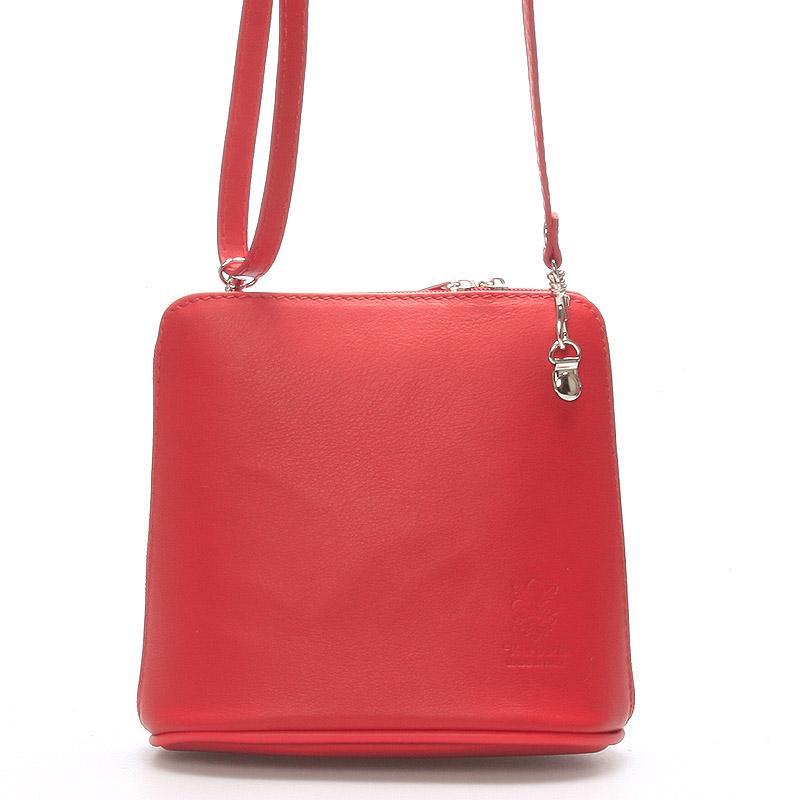 Dámska kabelka červená kožená crossbody 10053