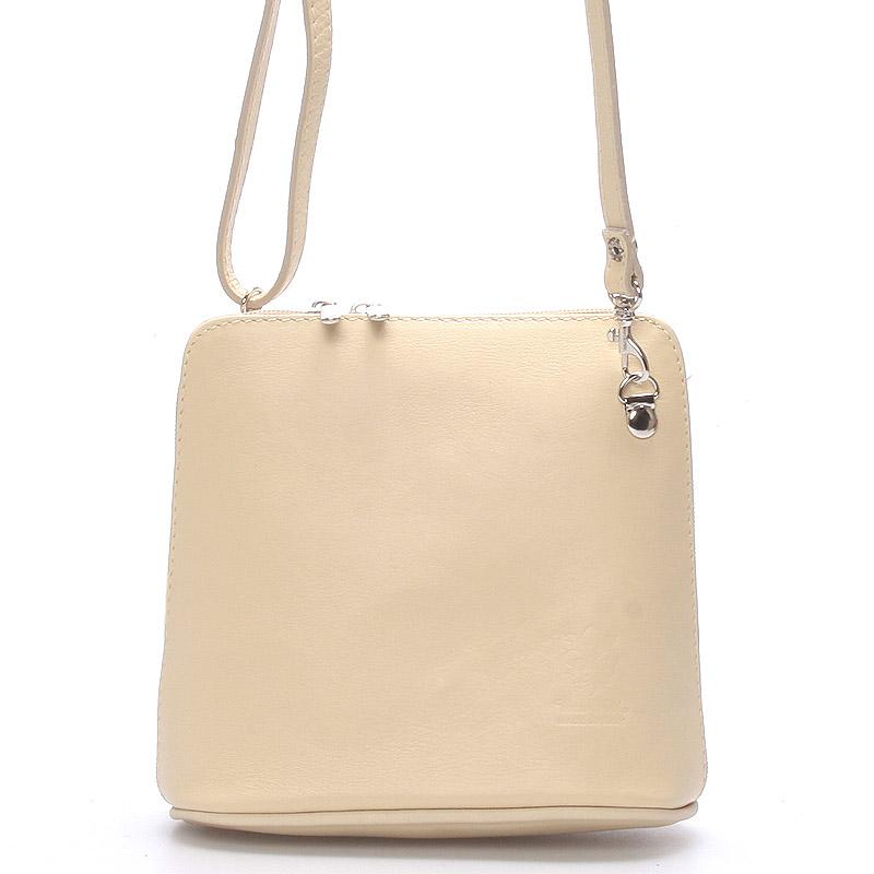 Krémová dámska kožená kabelka crossbody 10053