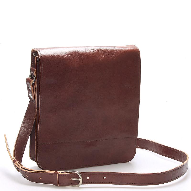 Hnedá luxusná kožená taška cez rameno KABEA Luxor-T