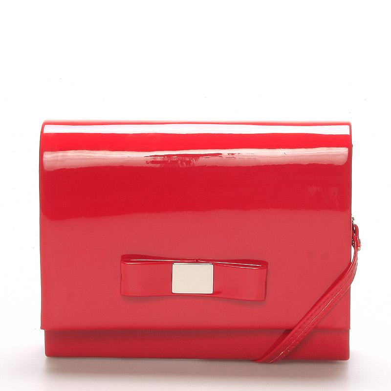 Luxusná dámska listová kabelka červená lesklá - Delami Chicago Fresno