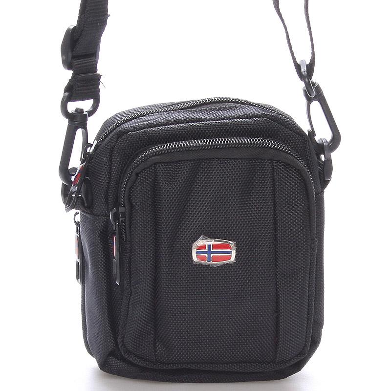 Malá dokladová unisex čierna taška na opasok - New Rebels Ross