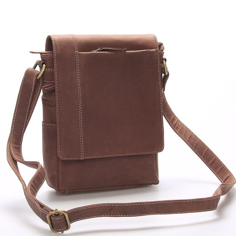Hnedá kožená taška cez plece Faraell