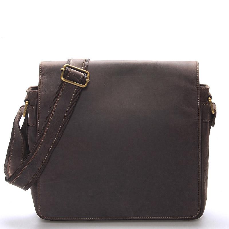 Luxusná kožená pánska hnedá taška Frozen