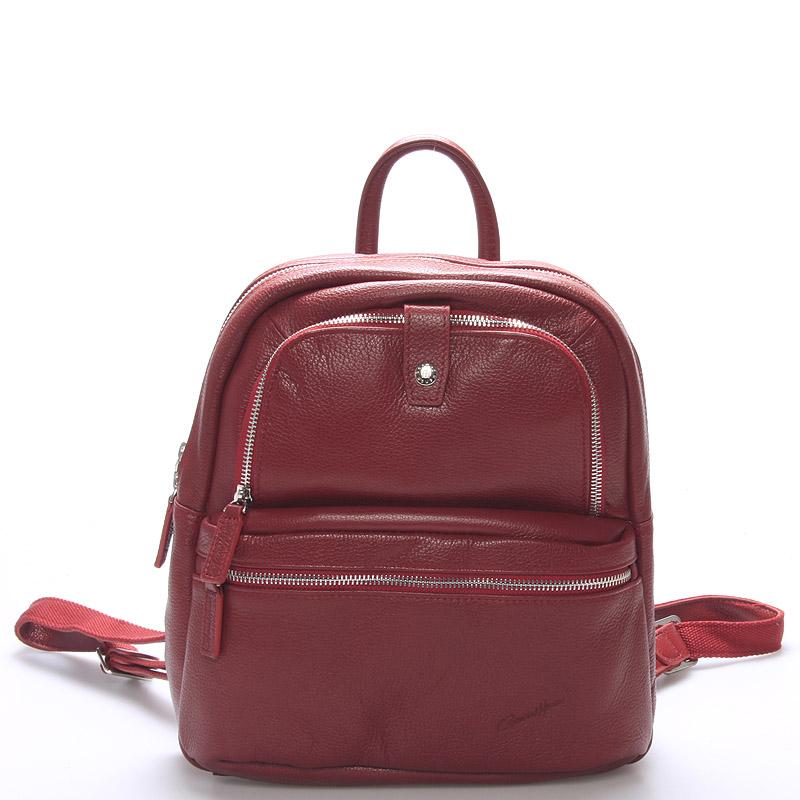 Jemný kožený dámsky batôžtek červený - Gerard HENON Comtess