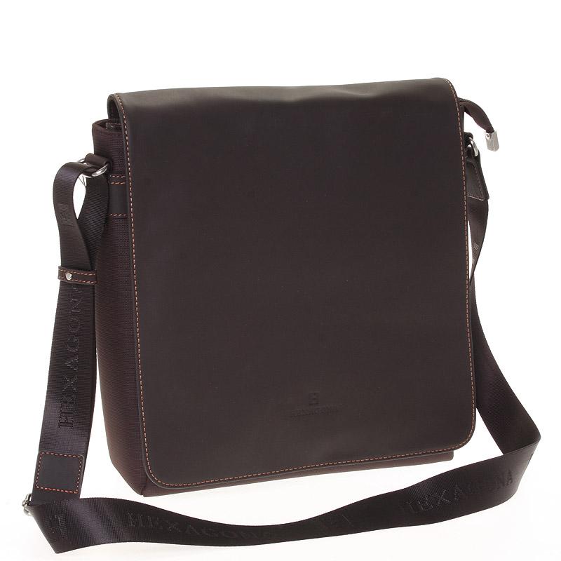 Luxusná pánska kožená taška hnedá - Hexagona 299163