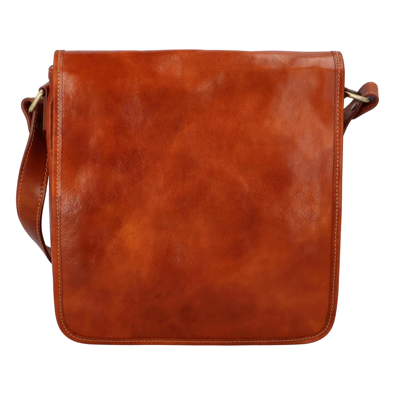 Pánska luxusná kožená taška cez plece koňaková - ItalY Jamar