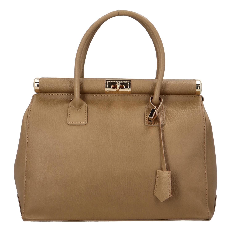 Módna originálny dámska kožená kabelka do ruky tmavo béžová - ItalY Hila