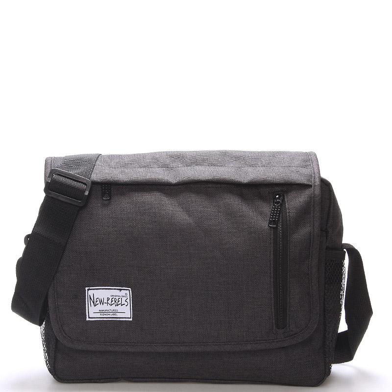 Unisex látková čierna crossbody taška - New Rebels Rebton