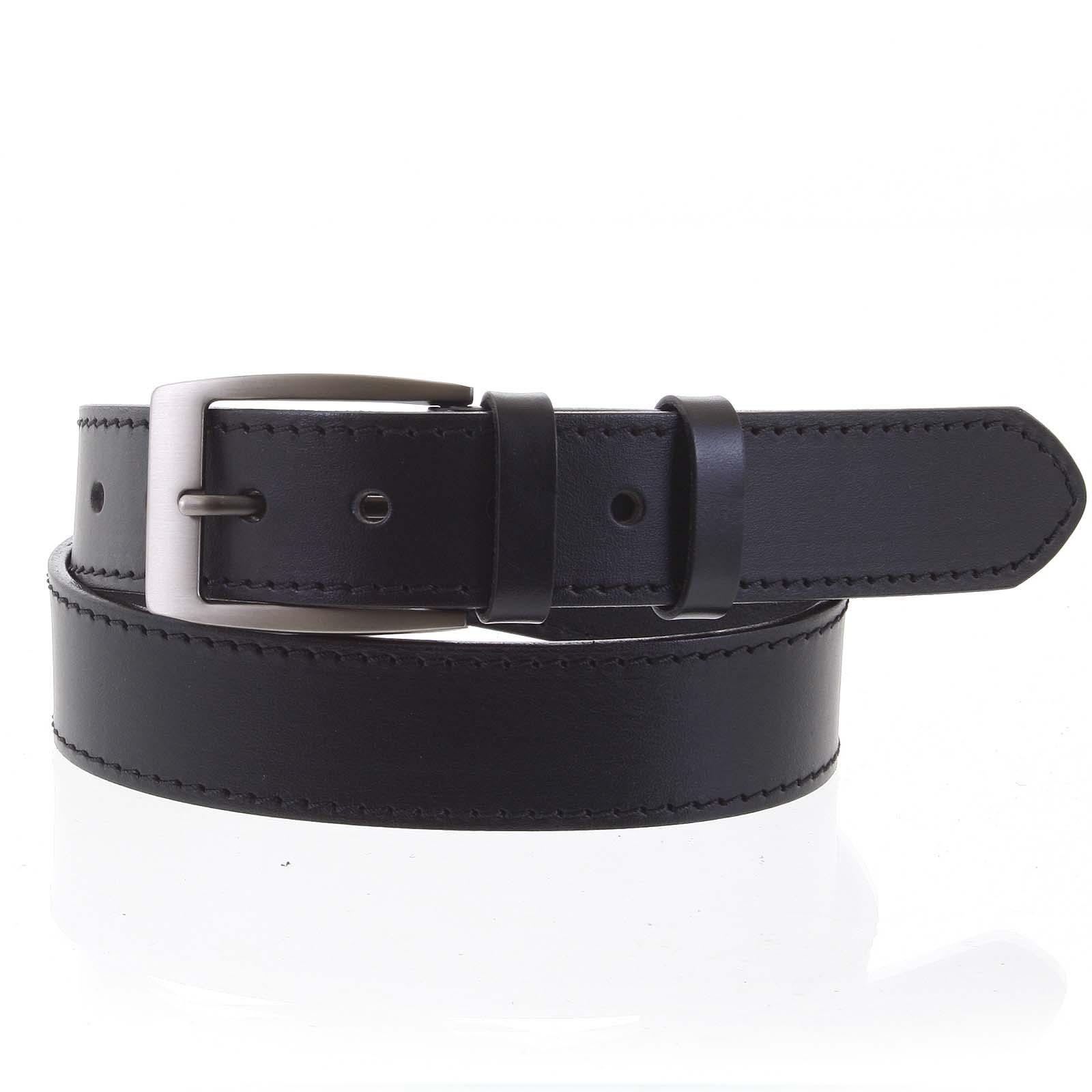 Pánsky kožený opasok jeansový čierny - PB Adami 115