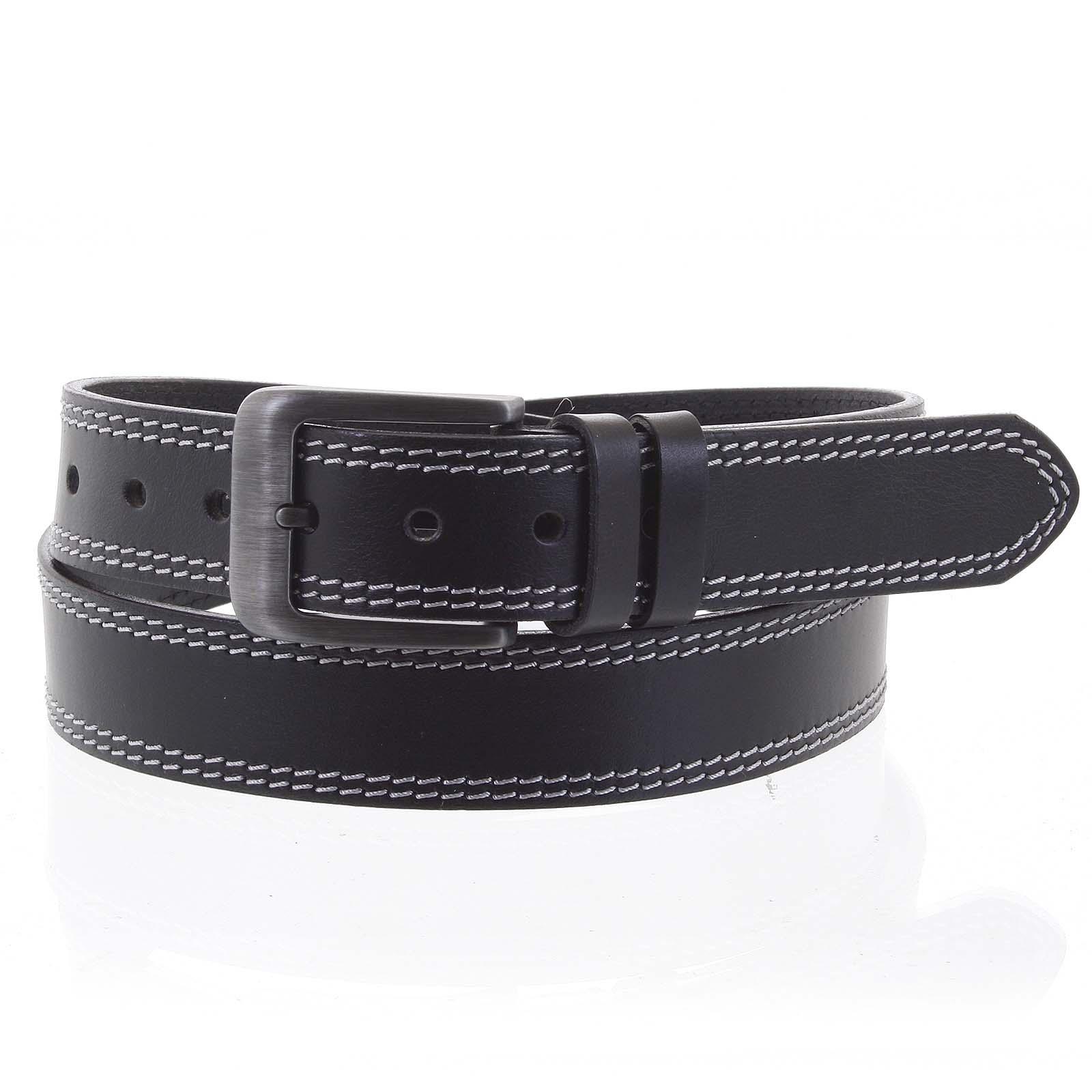 Pánsky kožený opasok jeansový čierny - PB Sadoc 115