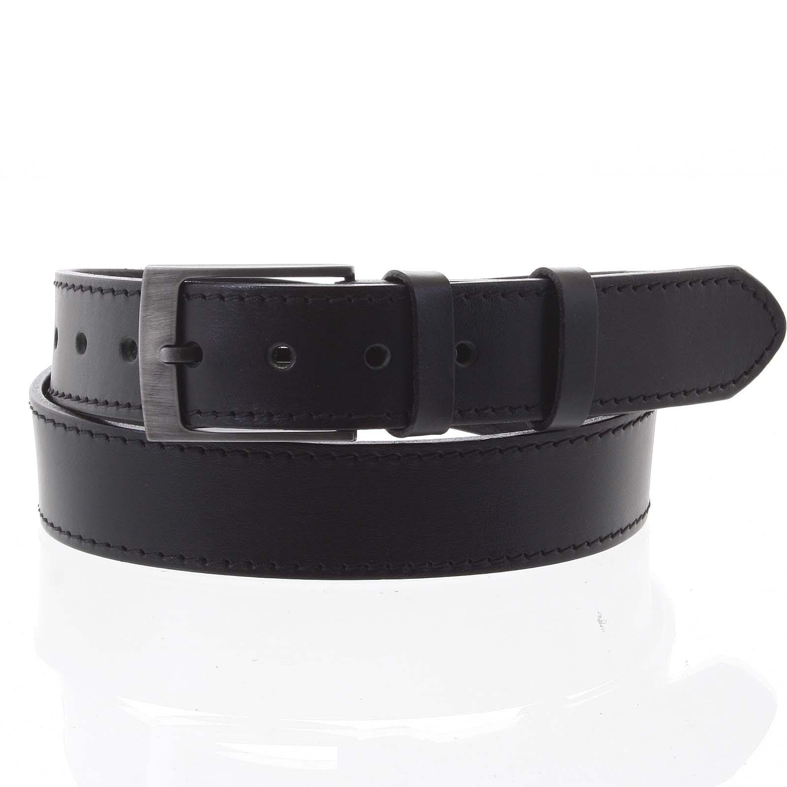 Pánsky kožený opasok jeansový čierny - PB Meroz 115