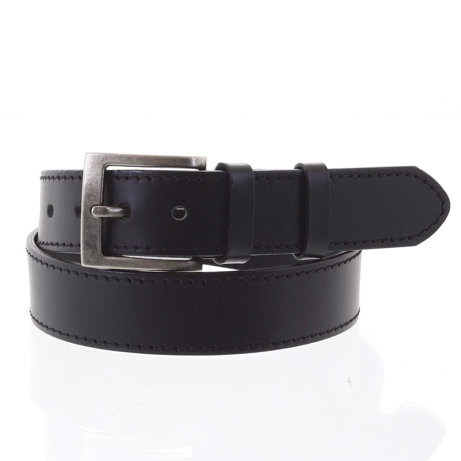 Pánsky kožený opasok jeansový čierny - PB Nacho 105