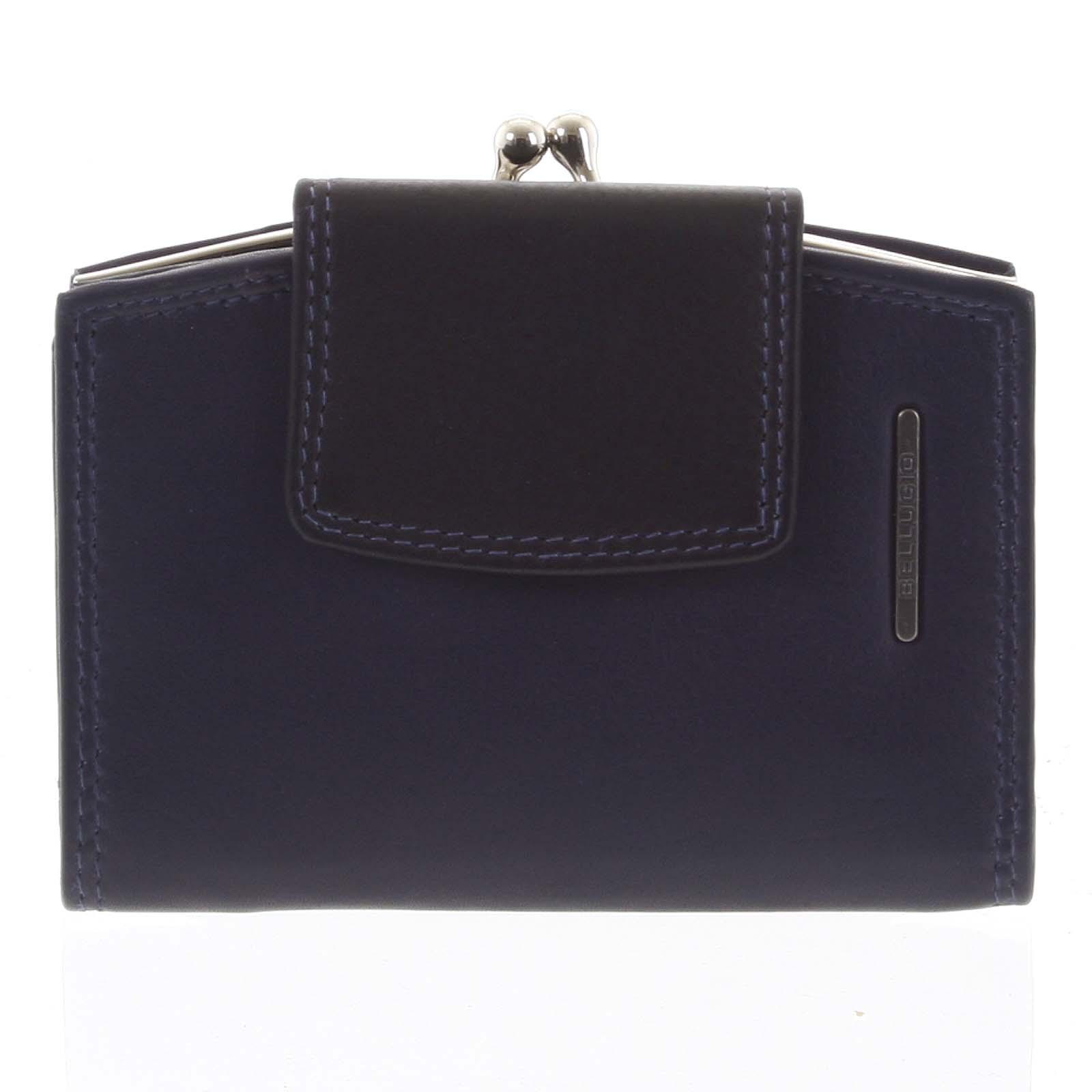 Luxusná dámska kožená peňaženka modročierna - Bellugio Armi