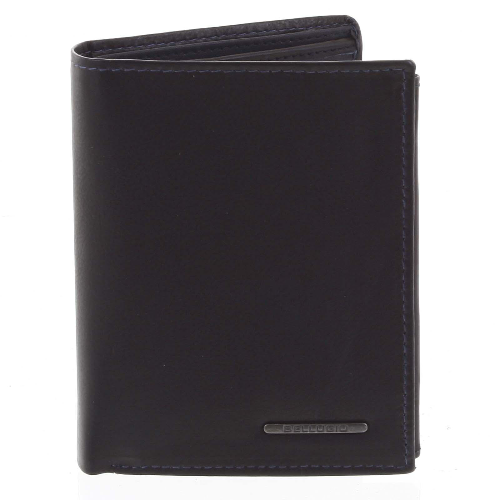 Pánska prešívaná kožená peňaženka čierno-modrá - Bellugio Panagiotis